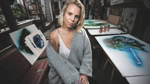 Hayley King aka FLOX at her studio in Grey Lynn, Auckland